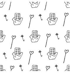 valentine pattern in doodle style vector image