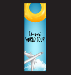vertical summer travel banner with plane vector image