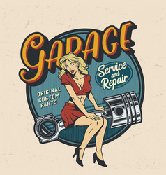 vintage colorful garage repair service logo vector image