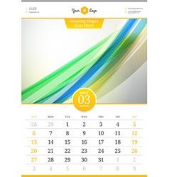 Wall Calendar 2016 March Template with Abstract vector