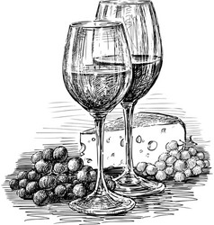 Wine glasses and cheese vector