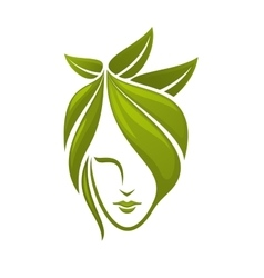 Woman face with green leaves vector image vector image