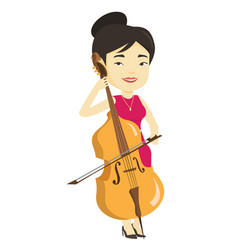 Woman playing cello vector