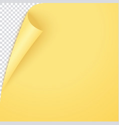 yellow curled corner page empty bent paper vector image