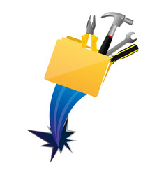Yellow file with tools and hole icon vector