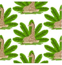 giraffe and banana fan seamless pattern vector image
