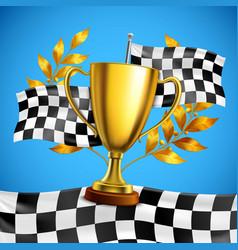 golden winner trophy realistic poster vector image vector image