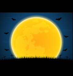 halloween graveyard bat moon vector image