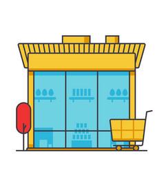 market building store shop building flat line vector image vector image