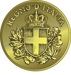 money gold italian coin twenty Centesimo vector image vector image