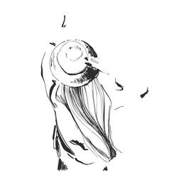 sketch happiness carefree joyful woman in hat vector image vector image