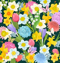 spring floral design on the dark background vector image vector image