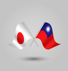 two crossed japanese and taiwanese flags vector image