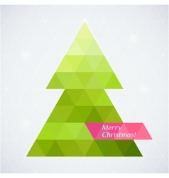 christmas tree triangle background card vector image