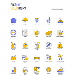 flat line multicolor icons design-restaurant and vector image
