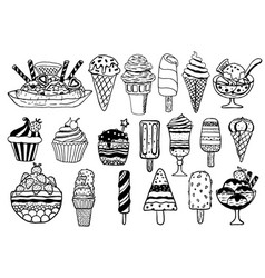 hand drawn ice cream set vector image
