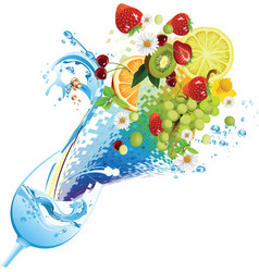 water and fruit cocktail vector image vector image
