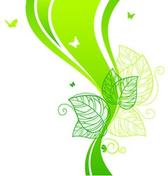back doodle floral green vector image vector image