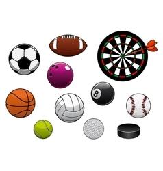 Dartboard hockey puck and sports balls vector image vector image
