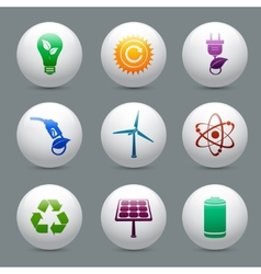 Energy and ecology buttons set vector image vector image