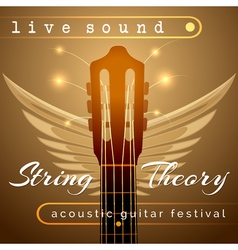 Guitar Concert Show Poster with Acoustic Guitar vector image