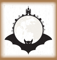 halloween bat and moon vintage paper vector image vector image