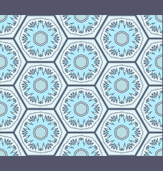 pale blue snowflakes in hexagons seamless pattern vector image vector image