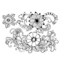 Set of doodle floral elements for design or vector image