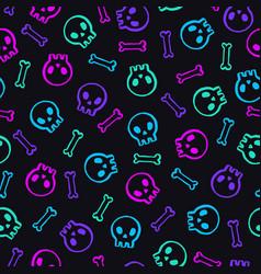 neon skulls background vector image vector image