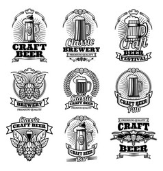 retro beer pub emblems vintage traditional vector image