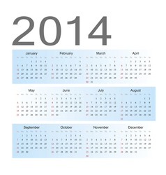 Simple blue european 2014 calendar vector image vector image
