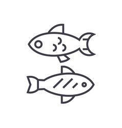 small fish line icon sign on vector image vector image