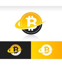 Swoosh Bitcoin Logo Icon vector image vector image