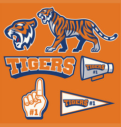 tiger mascot in set vector image vector image
