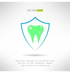Tooth in a shield icon Teeth protection concept vector image