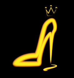 Yellow silhouette of shoe vector