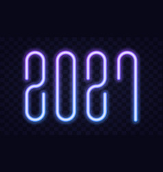 2021 happy new year neon text new year vector image