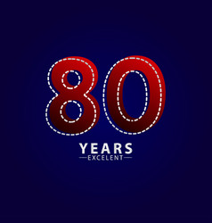 80 years excellent anniversary celebration red vector