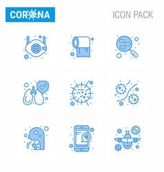 9 blue corona virus pandemic flu lungs care vector