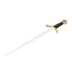 Accolade sword knights templar medieval weapon vector