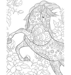 Adult coloring bookpage a cute horse vector