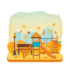 autumn kids playground horizontal bars swings vector image
