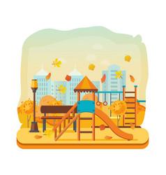 Autumn kids playground horizontal bars swings vector