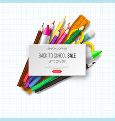 back to school sale banner with realistic school vector image