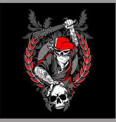 Bandit skull in hipster cap and skeleton hands vector