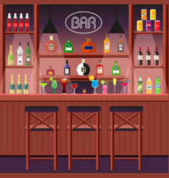 Bar pub or night club bar counter with alcoholic vector
