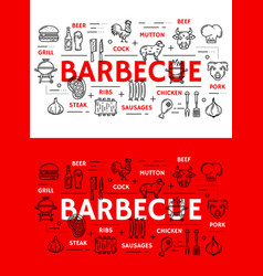 barbecue meat and sausages grill line icons vector image