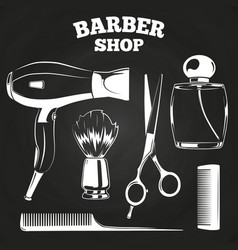 barber shop objects for labels vector image