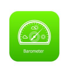 Barometer icon green vector