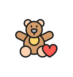 bear toy donation to children charity flat color vector image